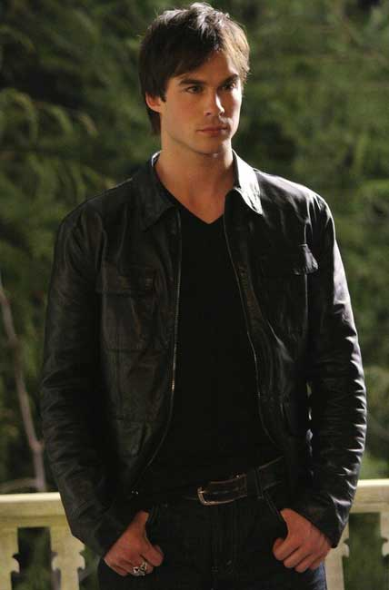 Damon Salvatore Black Leather Jacket