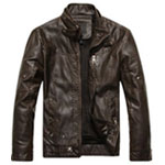 Vintage Stand Collar Leather Jacket
