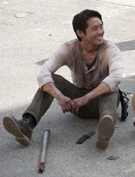 Glenn Rhee Sitting Pants and Boots