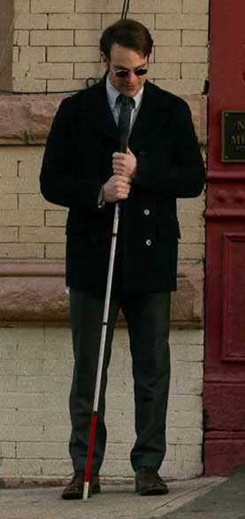 Matthew Murdock Standing with Peacoat and Cane