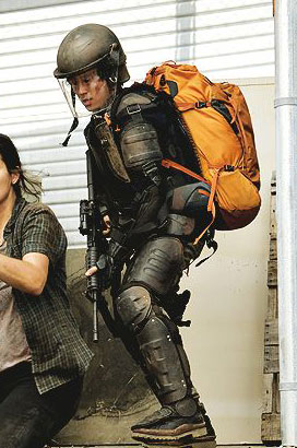 Glenn Rhee Riot Gear and Orange Backpack