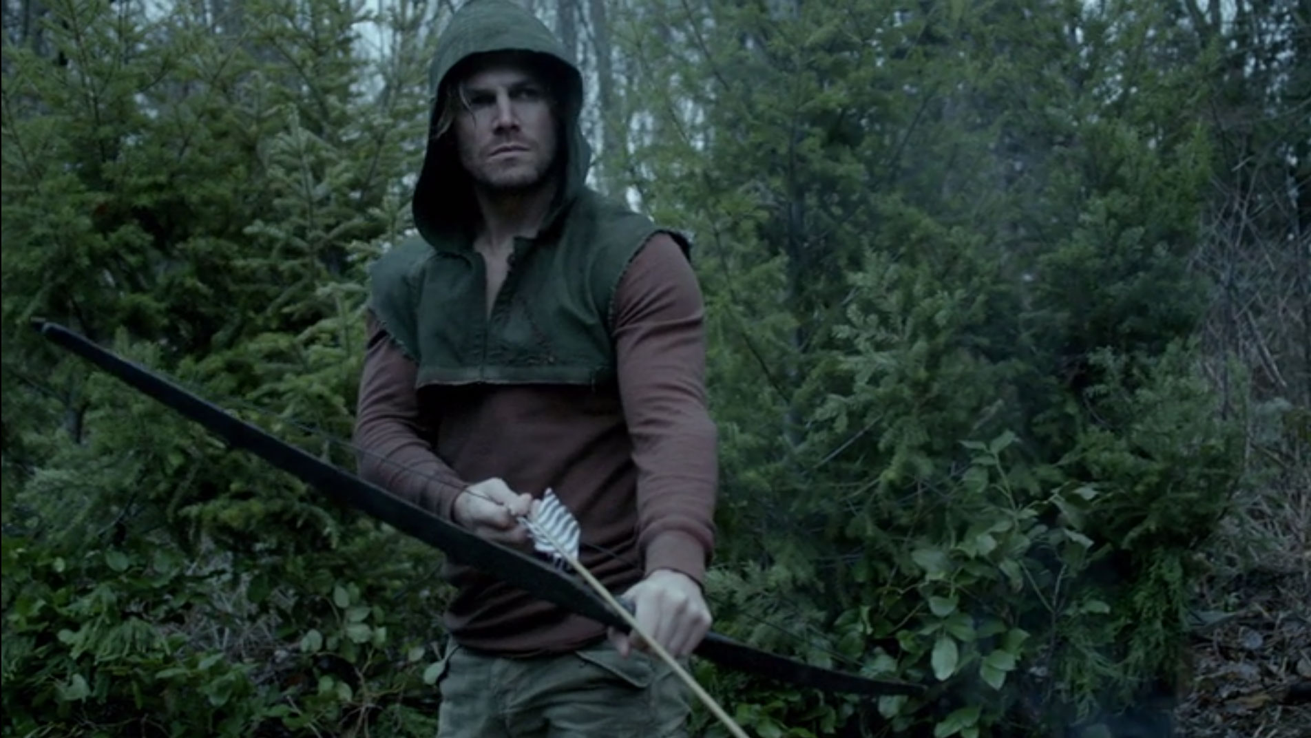 Island Oliver Queen Brown Henley and Green Hood