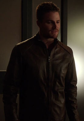 Oliver Queen's Brown Moto Jacket