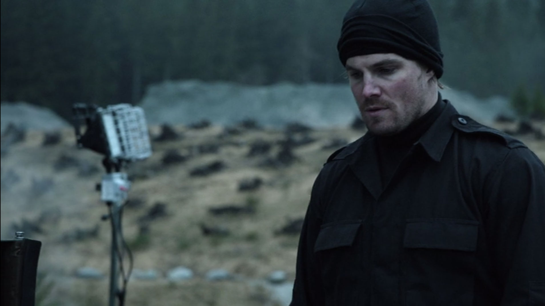 Oliver Queen's Island Soldier Jacket and Mask