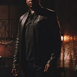 John Diggle's Black Leather Moto Jacket