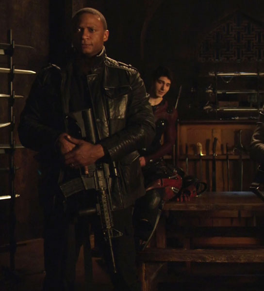 John Diggle's Black Leather Military Jacket