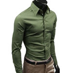 Ochenta Army Green Dress Shirt