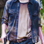 Carl Grimes Blue and Gold Plaid Shirt