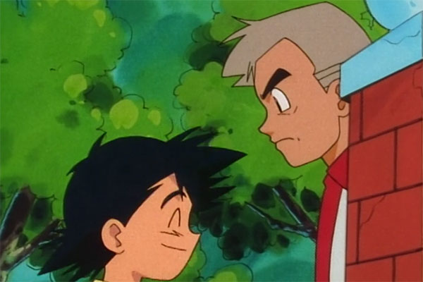 Pokemon Professor Oak talking to Ash