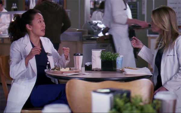 Grey's Anatomy Cristina Yang eating lunch