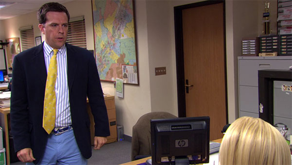 The Office Andy Bernard yellow tie blue pants
