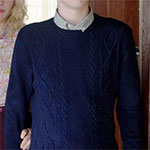 Norman Bates blue cable knit sweater