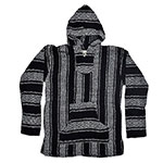 Baja Joe striped woven eco friendly hoodie black
