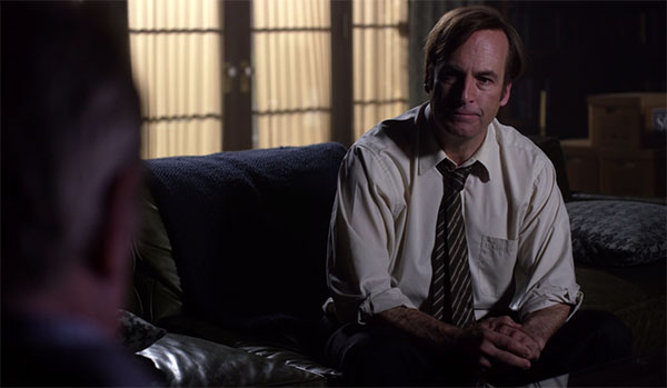 Better Call Saul Jimmy McGill black white striped tie s1e9