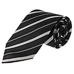 black and white striped neck tie