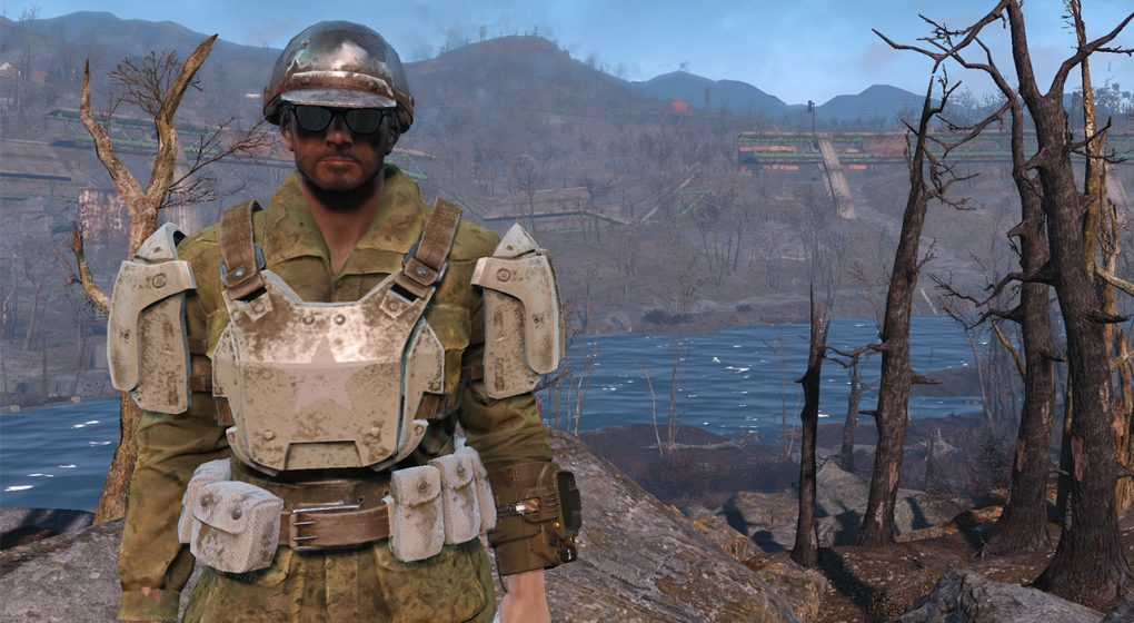 Fallout 4 Sole Survivor helmet military fatigues armor sunglasses