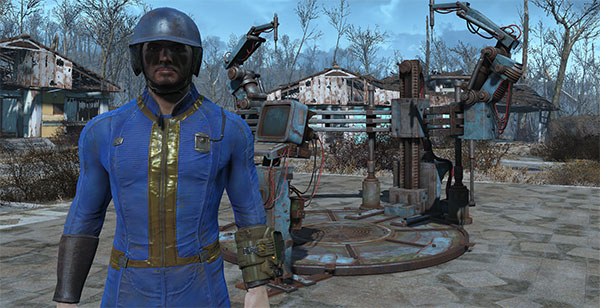Fallout 4 Sole Survivor Vault 111 jumpsuit blue baseball helmet