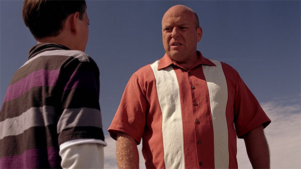 Hank Schrader Breaking Bad s2e1 orange white bowling style shirt