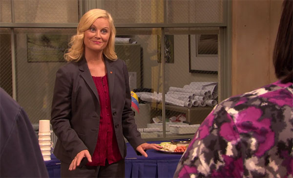 Leslie Knope Parks and Rec gray suit red shirt