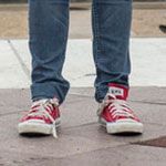 Leslie Knope red Converse low top sneakers