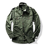 Long sleeve military style cargo tactical work shirt army green