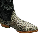 snip toe genuine python skin leather cowboy boots white