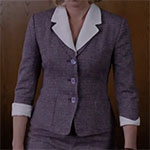 Norma Bates purple suit white button down shirt