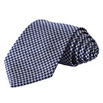 SetSense Houndstooth Jacquard woven slim skinny narrow neck tie navy blue gray