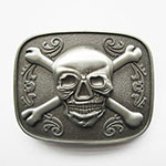 silver pirate flag skull and crossbones 3d belt buckle
