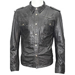Infinity black leather trucker jacket