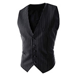 single breasted striped vest black