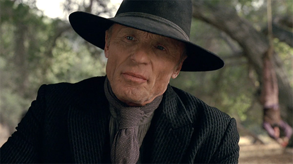 Westworld William Man in Black black hat black jacket neck tie s1e5